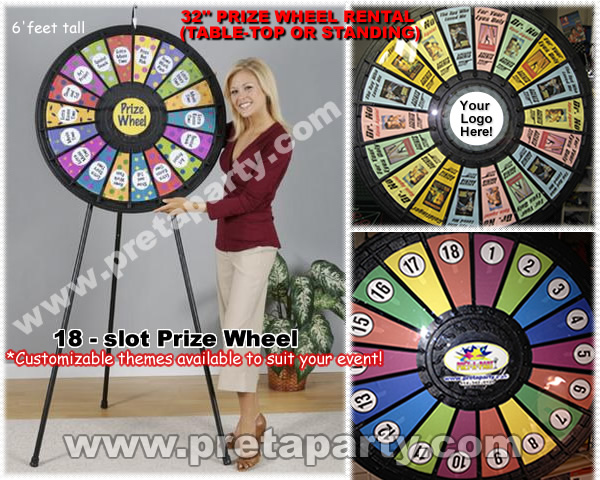 Fully customizable 18 slot Prize Wheel that you can fill with your allocated prizes.